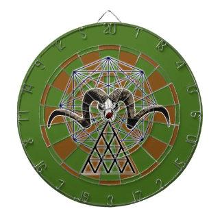 Ram skull sacred geometry dartboard