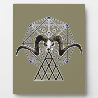 Ram skull sacred geometry plaque