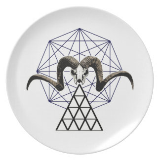 Ram skull sacred geometry plate