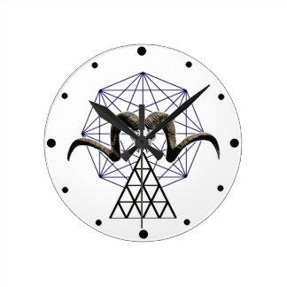 Ram skull sacred geometry round clock