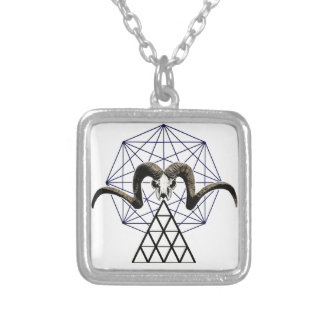 Ram skull sacred geometry silver plated necklace