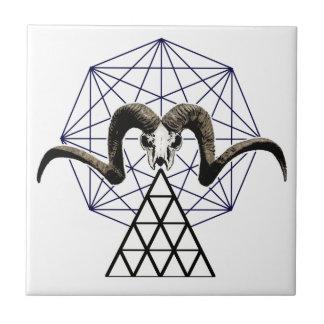Ram skull sacred geometry tile