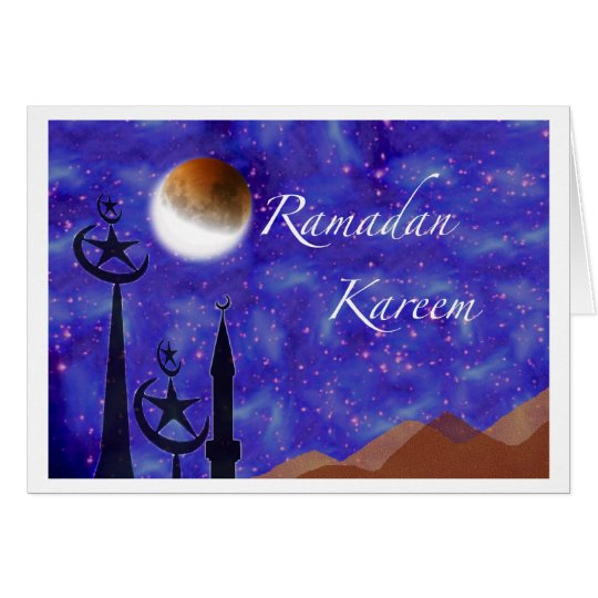 Ramadan Kareem, Crescent Moon and Minarets Card