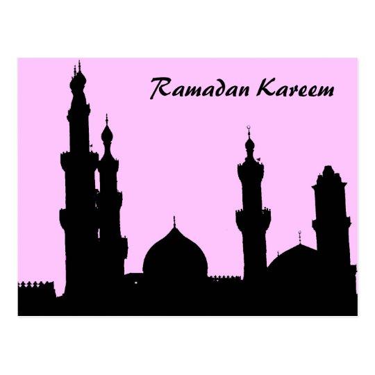 Ramadan Mosque Pink Postcard