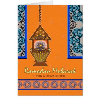 Ramadan Mubarak for Sister, Fanoos Lantern Greeting Card