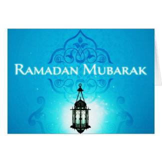 Ramadan Mubarak in Beautiful Blue Background Card