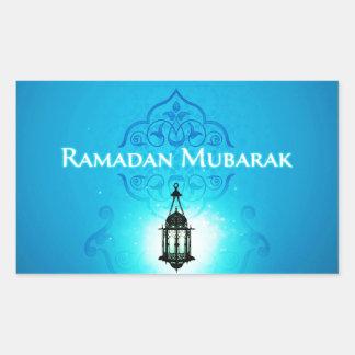 Ramadan Mubarak in Beautiful Blue Background Rectangular Sticker