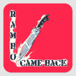 rambo came back knife cartoon style illustration square sticker