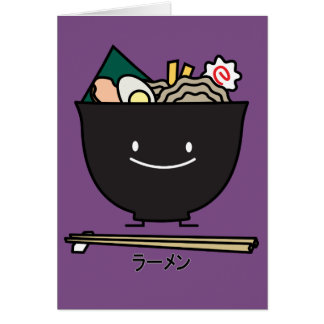 Ramen Bowl chopstick pork seaweed Japanese noodles Card