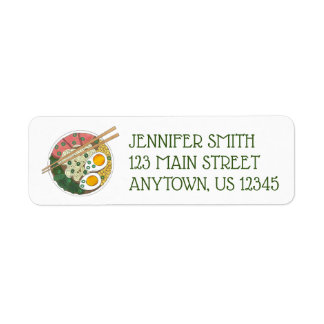 Ramen Noodles Bowl Japanese Food Restaurant Foodie Return Address Label
