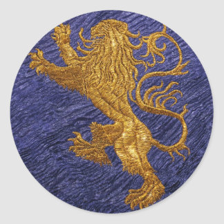 Rampant Lion - gold on blue Classic Round Sticker