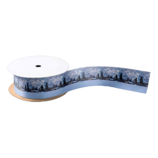 Ranch in western Canada, winter Satin Ribbon