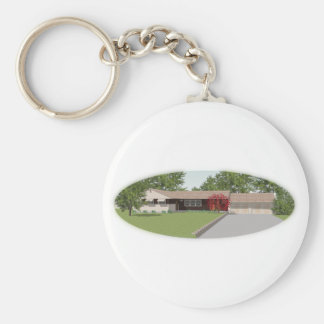 Ranch Style House: Basic Round Button Key Ring