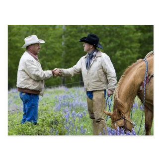 Ranchers shaking hands across the fencing in postcard