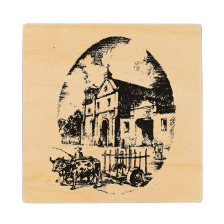 Rancho California Old-World Graphic Wood Coaster