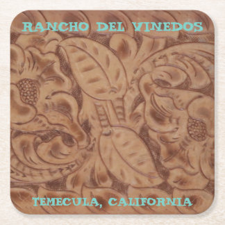 Rancho Del Vinedos Temecula paper coasters leather