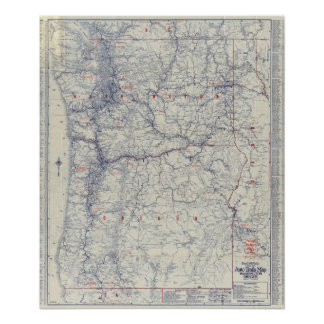 Rand McNally Official 1925 Auto Trails Map Poster