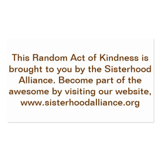 Random Act of Kindness Project Small Cards Pack Of Standard Business Cards