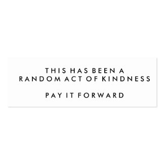 Random Acts of Kindness Challenge Cards Business Card