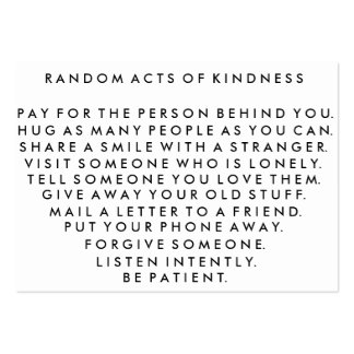 Random Acts of Kindness Pay It Forward Card I Business Card Template