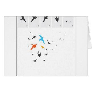 Random birds silhouettes design greeting card