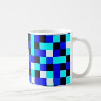 Random Checkered Pixel Art - Blue & White Coffee Mug