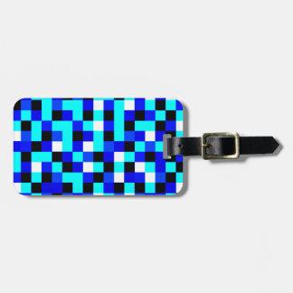 Random Checkered Pixel Art - Blue & White Luggage Tag