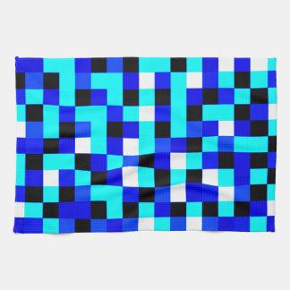 Random Checkered Pixel Art - Blue & White Tea Towel