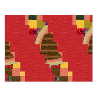 Random Color PATCH ABSTRACT Art on SILKY RED BASE Postcard