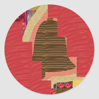 Random Color PATCH ABSTRACT Art on SILKY RED BASE Round Sticker