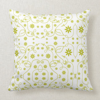 Random Dot Flower Lime Green, White Throw Pillow