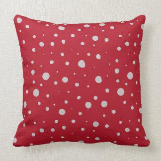 Random Dots Crimson Red Cushion
