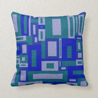 Random Geometric Retro Aqua Throw Pillow