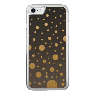 Random Gold Dots on Black Carved iPhone 7 Case