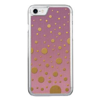 Random Gold Dots on Purple Design Carved iPhone 7 Case