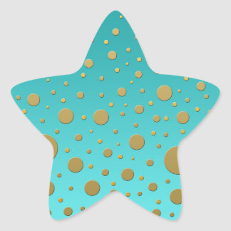 Random Gold Dots on Turquoise Modern Pattern Star Sticker