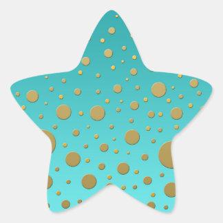 Random Gold Dots on Turquoise Modern Pattern Star Sticker