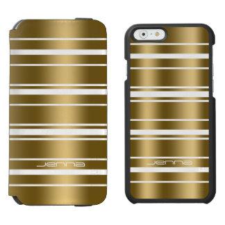 Random Gold Stripes On White Modern Pattern Incipio Watson™ iPhone 6 Wallet Case