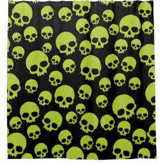 Random Green Skulls Pattern Shower Curtain