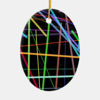 Random Lines 90's Retro Neon Ceramic Ornament