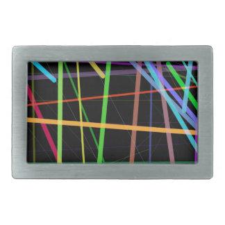 Random Lines 90's Retro Neon Rectangular Belt Buckle