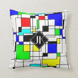 Random Squares Homage To Mondrian Cushion