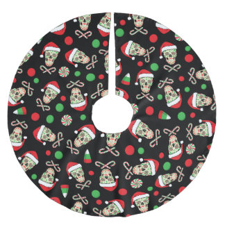 Random Sugar Skull Santa Brushed Polyester Tree Skirt