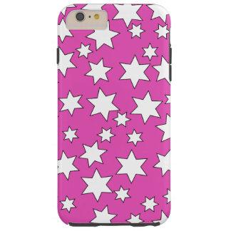 Random White Stars on Bright Pink Tough iPhone 6 Plus Case