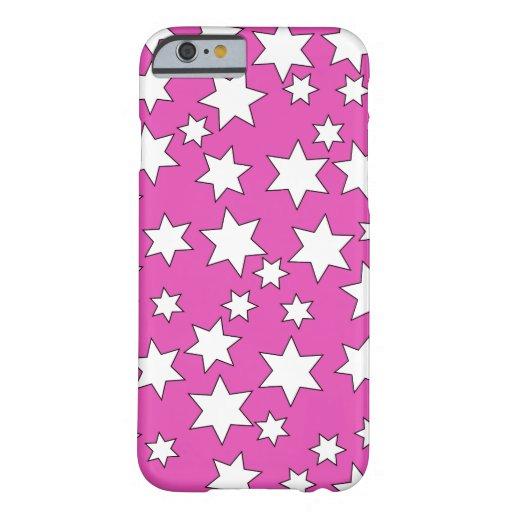 Random White Stars on Bright Pink iPhone 6 Case
