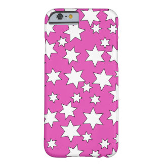 Random White Stars on Bright Pink iPhone 6/6s Barely There iPhone 6 Case