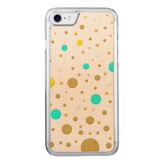 Random Yellow Teal Gold Dots Carved iPhone 7 Case