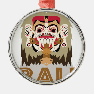 Rangda Bali Silver-Colored Round Decoration
