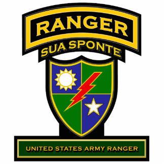 Ranger crest and tab - Sua Sponte Standing Photo Sculpture
