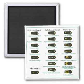 Rank insignia police Germany Square Magnet
